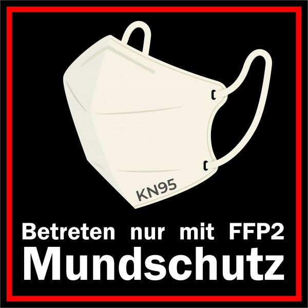 FFP2 Maskenpflicht Aufkleber / FFP2 Mund-Nasen-Schutz Aufkleber