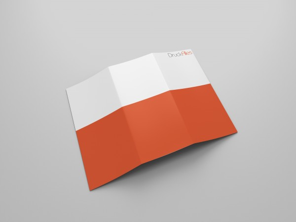 Faltblatt, gefalzt auf Quadrat 100 x 100 mm, 6-seiter (Wickelfalz)