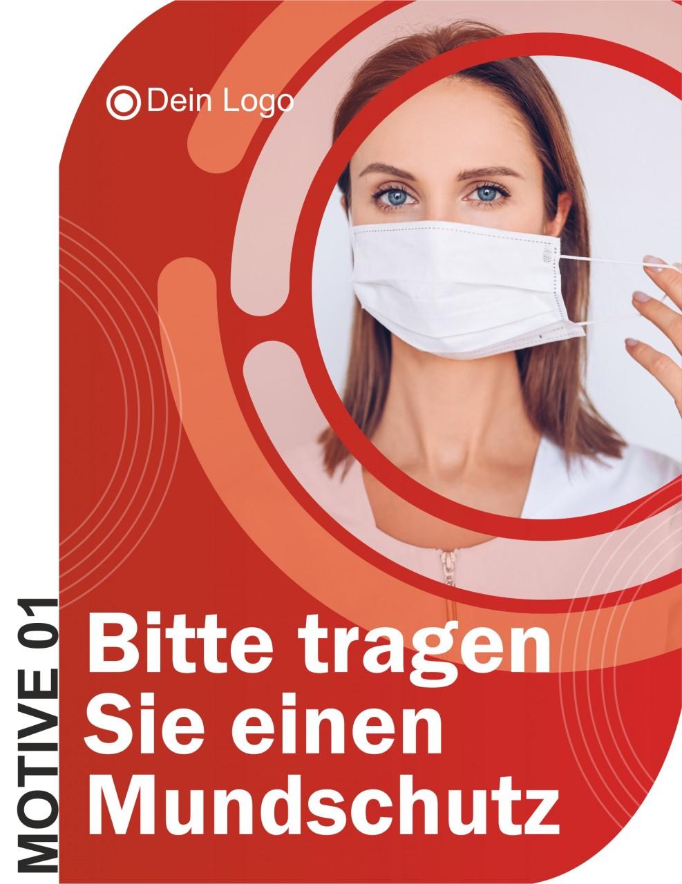 Maskenpflicht Aufkleber / Mund-Nasen-Schutz Aufkleber A5