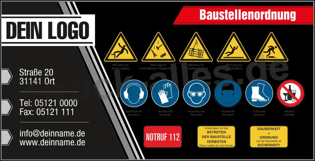 Bauzaunbanner Sicherheitszeichen Design1