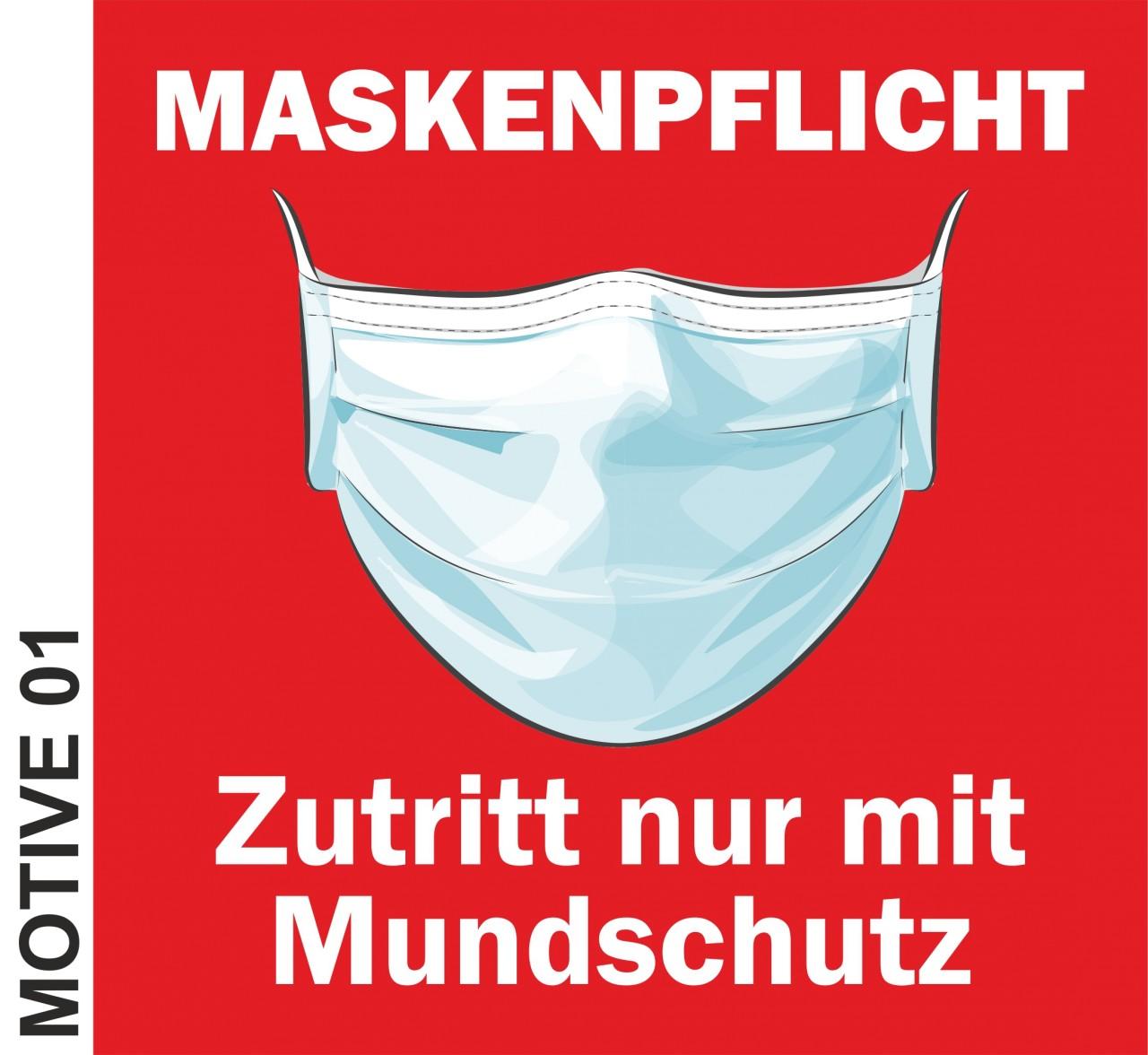 Maskenpflicht - Aufkleber 17x17 cm