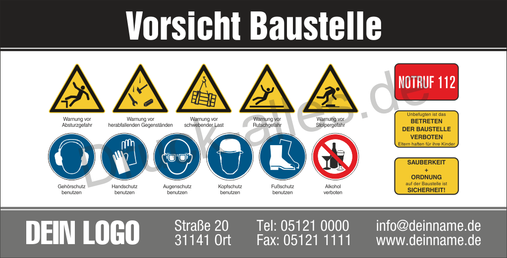 Bauzaunbanner Sicherheitszeichen Design3