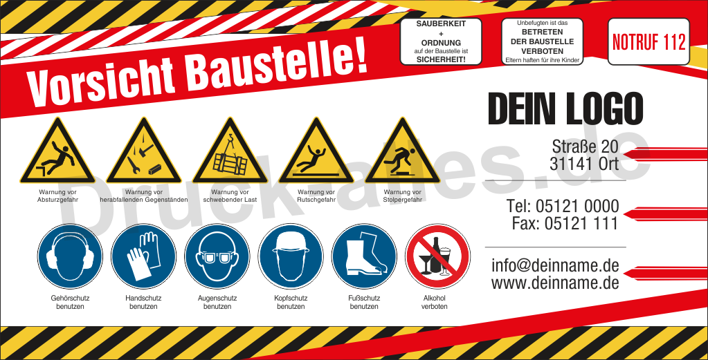 Bauzaunbanner Sicherheitszeichen Design2