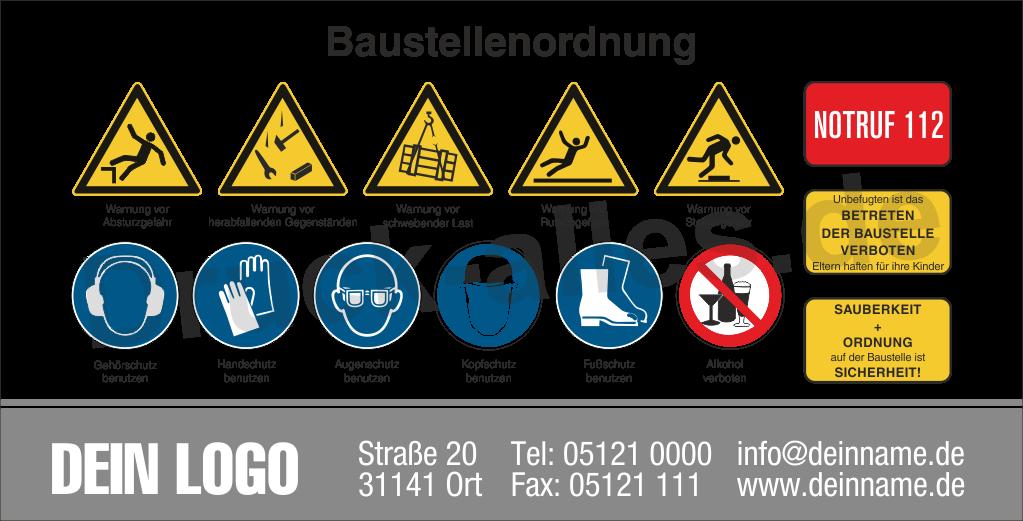 Bauzaunbanner Sicherheitszeichen Design4